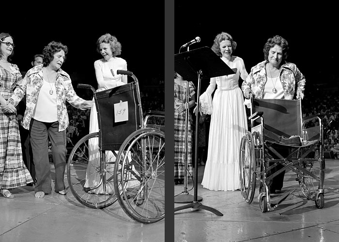July 1975 -- Kathryn Kuhlman on stage in probably the PNE Agrodome. One picture appeared in Aug 11, 1975 edition of People magazine