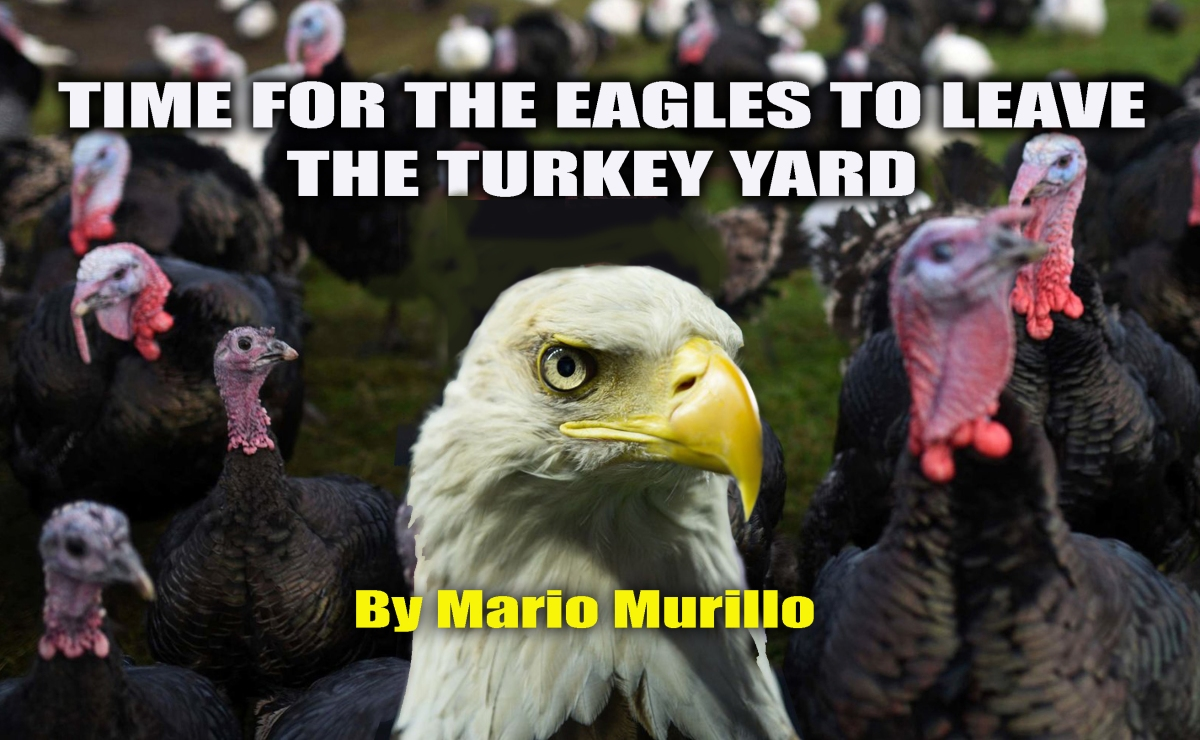 TIME FOR THE EAGLES TO LEAVE THE TURKEY YARD